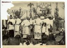 Msza w Niopokalanowie na początku lat pięćdziesiątych